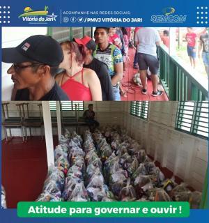 Distribuição dos kits de Ajuda humanitária na Comunidade Aterro do Muriacá