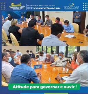 Prefeito Ary Duarte reuniu-se no Palácio do Sentetrião com o Governador Waldez Góes e equipe