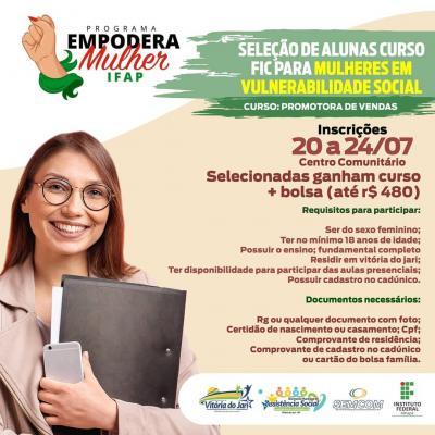 Curso de PROMOTORA DE VENDAS, pelo Programa Empodera Mulher IFAP