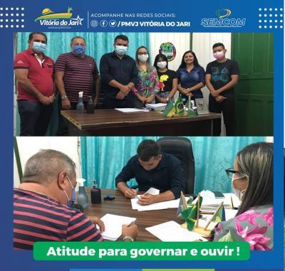 Assinatura de contrato para início da obra de pavimentação em Blocos sextavados do Conjunto Caulim